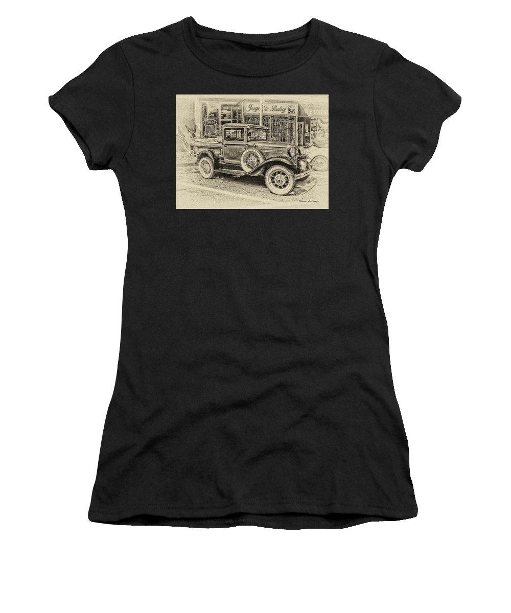 Antique Women's T-Shirt featuring the photograph Antique Pickup Truck by Thomas Woolworth