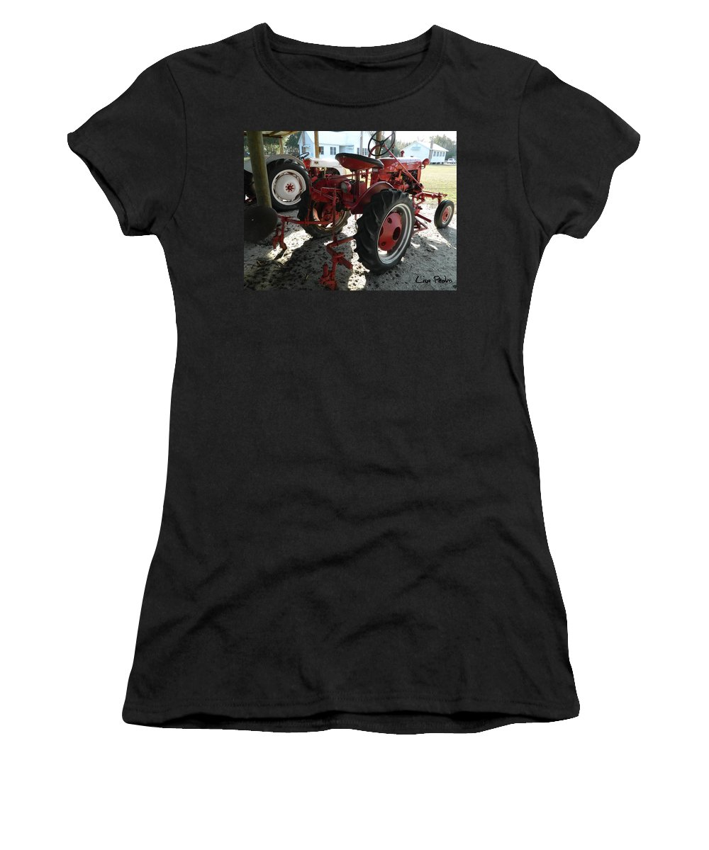 Tractor Women's T-Shirt featuring the photograph Antique Tractor Hiding In The Shadows by George Pedro