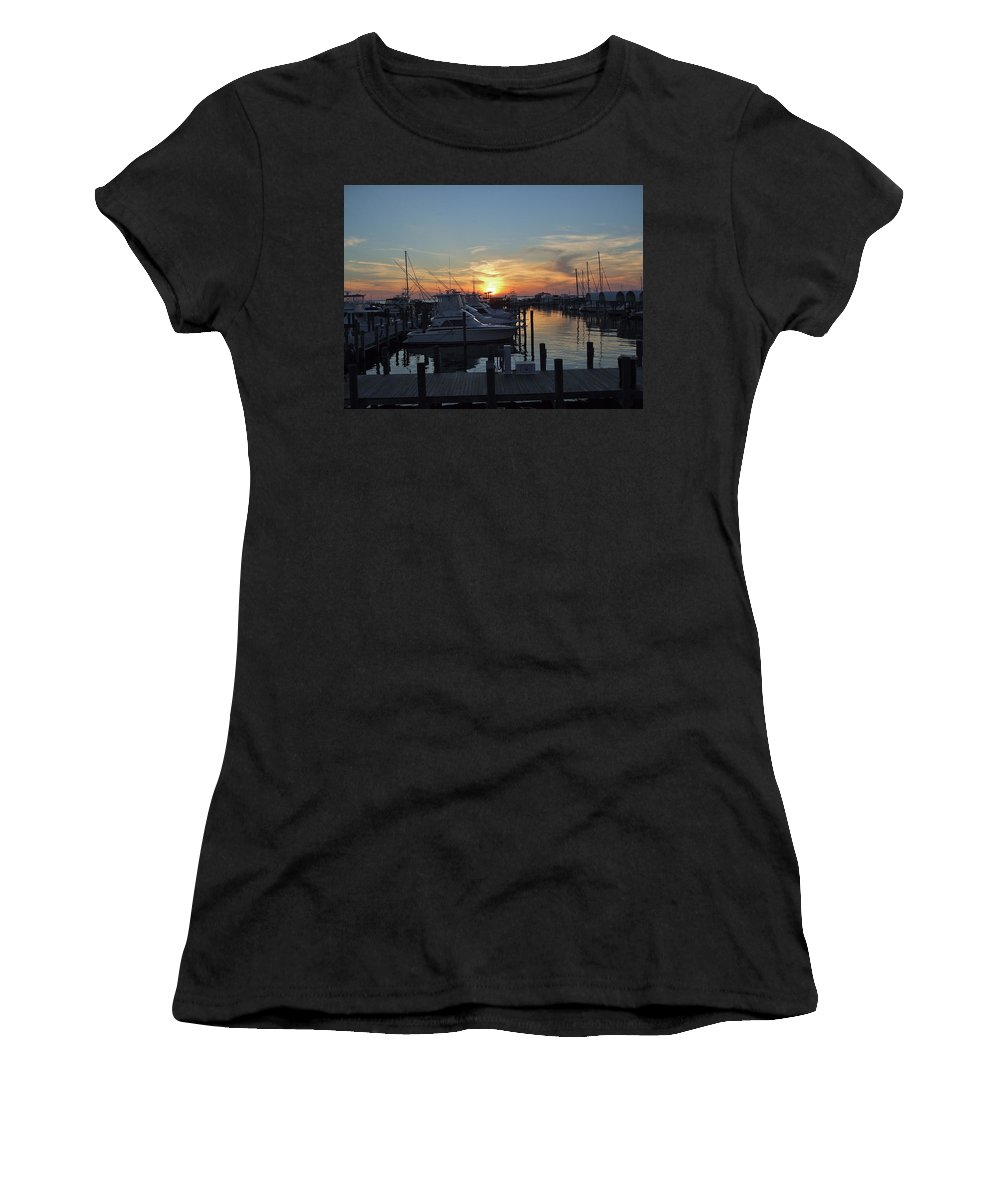 Boats Women's T-Shirt (Athletic Fit) featuring the photograph Apalachicola Marina At Sunset by Susan Wyman