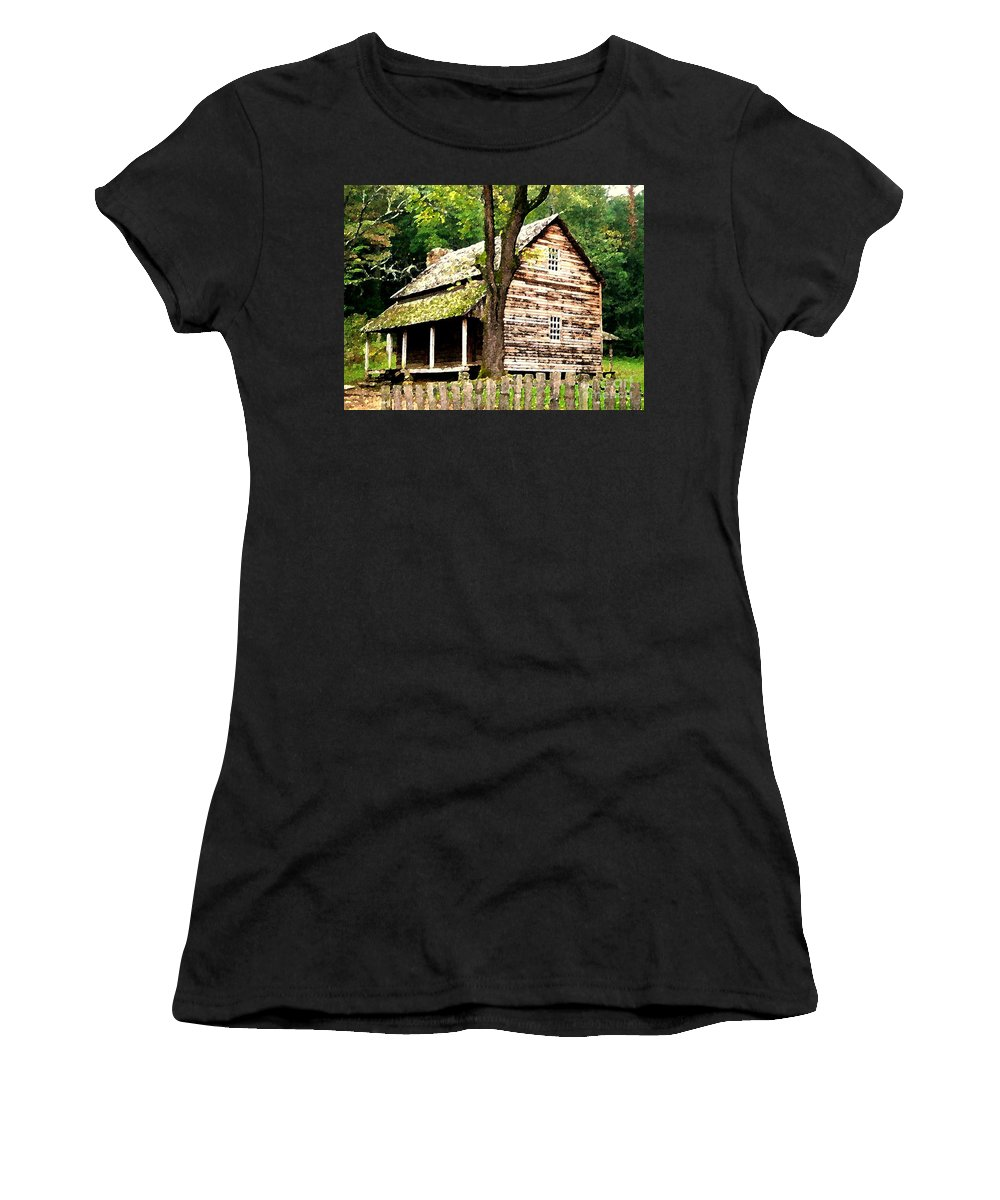 Appalachian Women's T-Shirt (Athletic Fit) featuring the painting Appalachian Cabin by Desiree Paquette