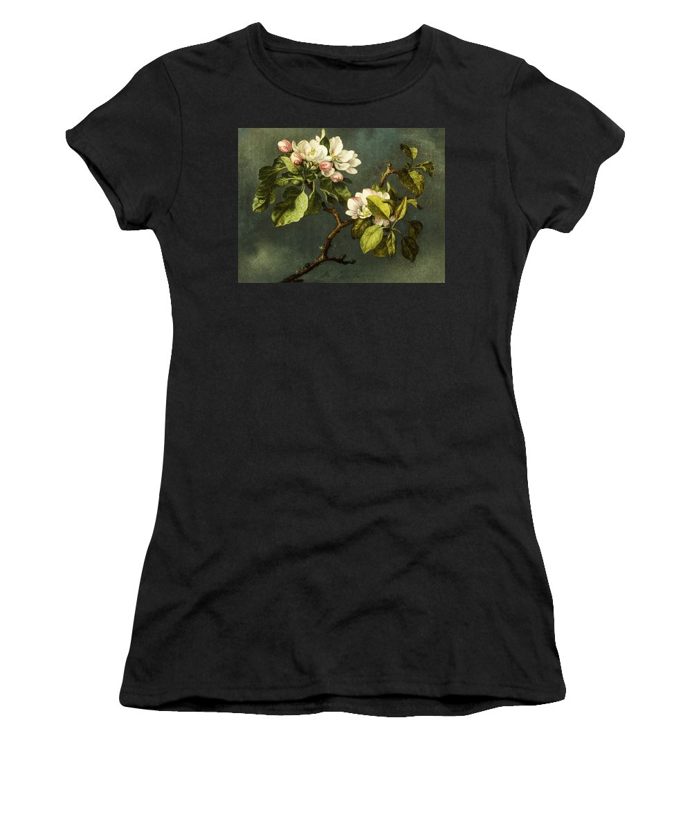 Floral Women's T-Shirt (Athletic Fit) featuring the painting Apple Blossoms by Martin Johnson Heade