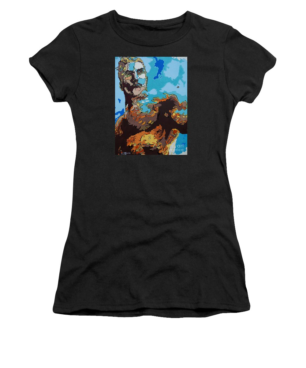 Aquaman Women's T-Shirt (Athletic Fit) featuring the painting Aquaman - Reflections by Kelly Hartman