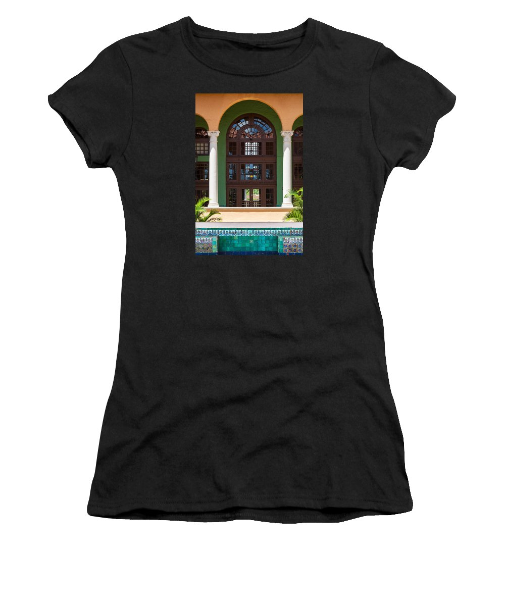 Arched Doorways Women's T-Shirt (Athletic Fit) featuring the photograph Arches And Doors At The Biltmore by Ed Gleichman