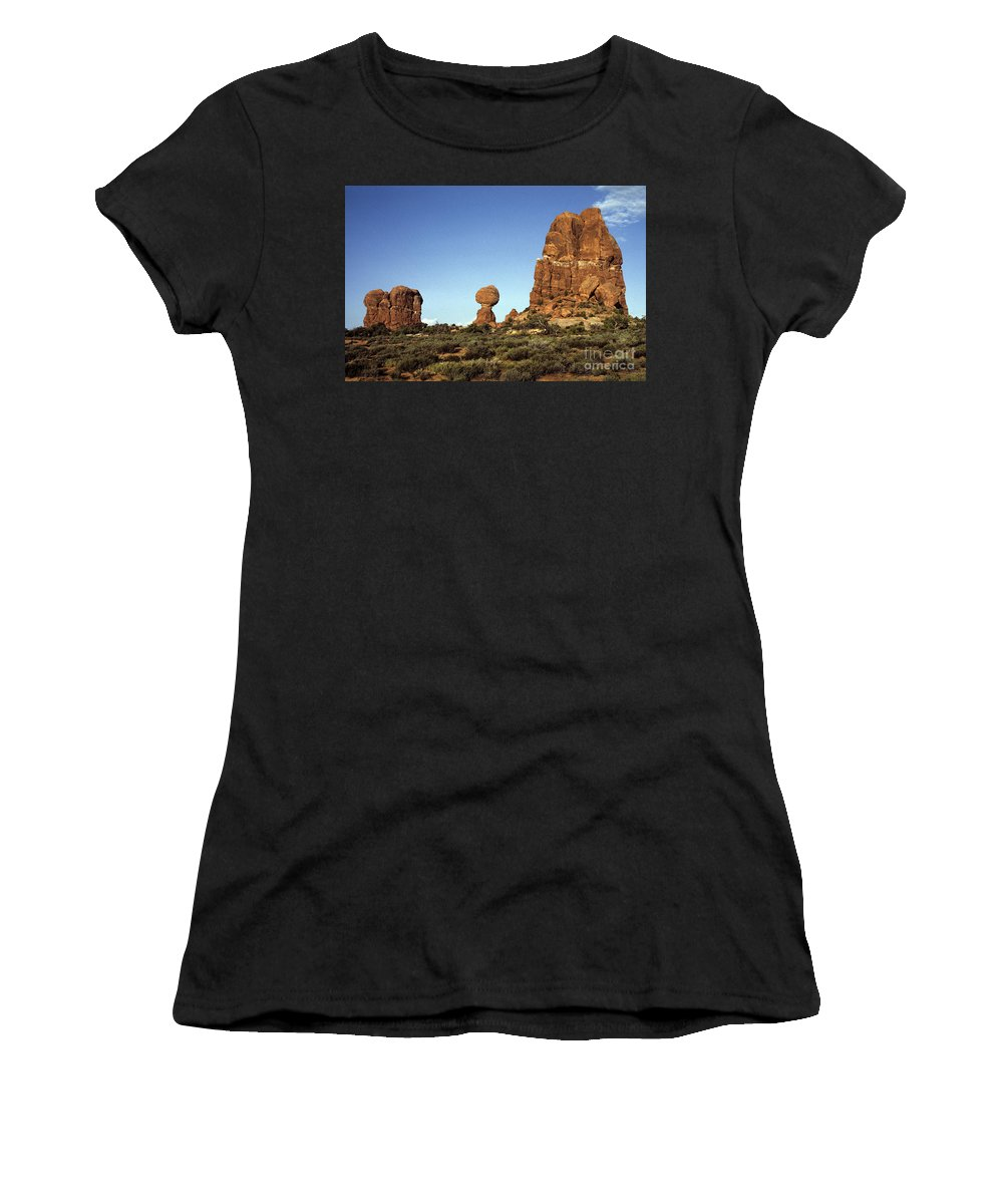 Landscape Women's T-Shirt (Athletic Fit) featuring the photograph Arches National Park With Balanced Rock And Rock Formations by Jim Corwin