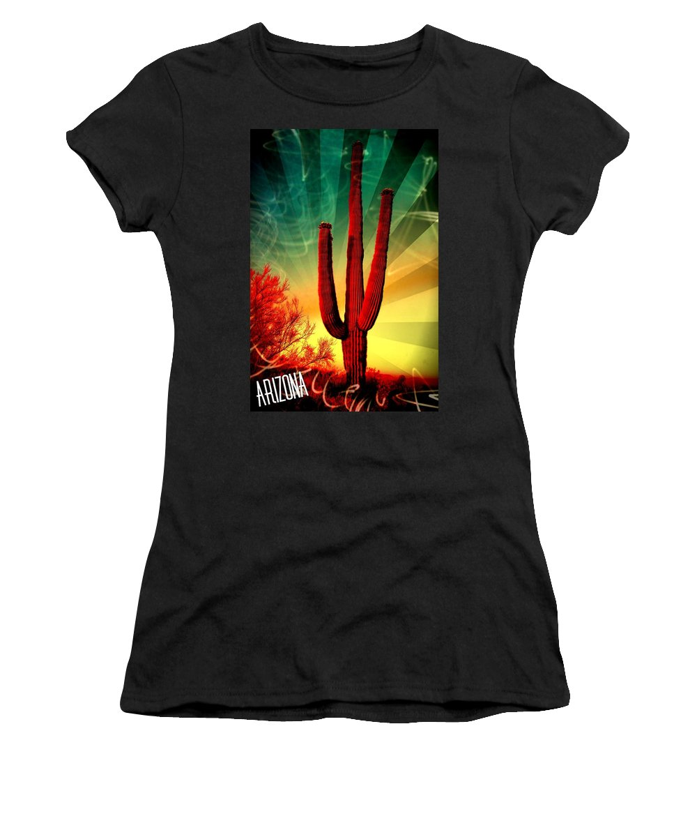 Arizona Women's T-Shirt (Athletic Fit) featuring the mixed media Arizona by Michelle Dallocchio
