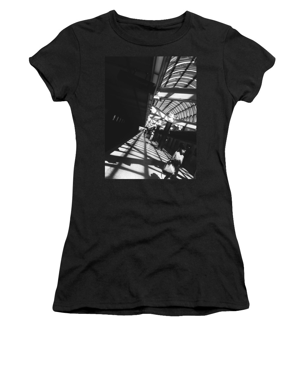 Black And White Women's T-Shirt featuring the photograph Arrested By The Light by Valerie Rosen