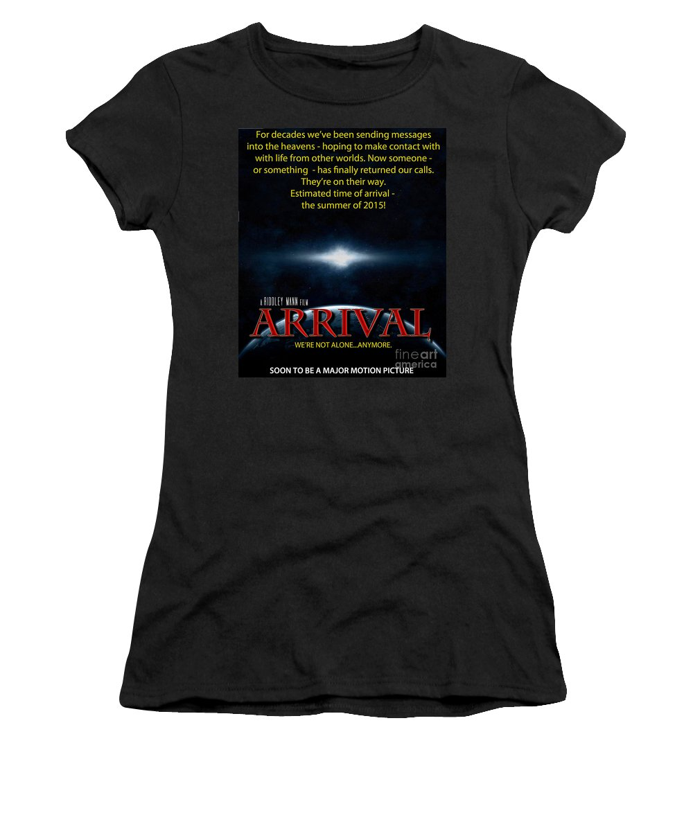 Movie Women's T-Shirt (Athletic Fit) featuring the photograph Arrival Faux Movie Poster by Mike Nellums
