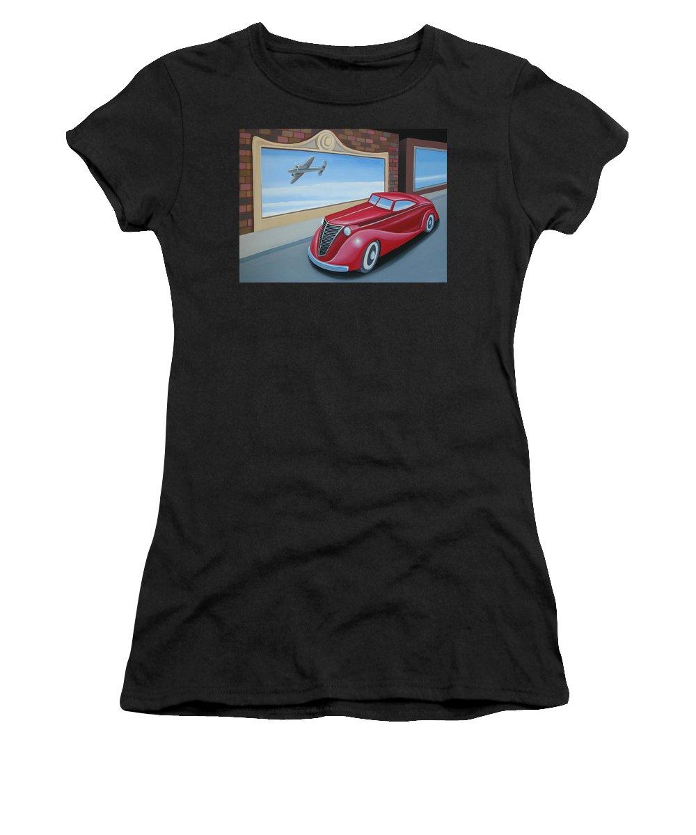 Automotive Women's T-Shirt (Athletic Fit) featuring the painting Art Deco Coupe by Stuart Swartz