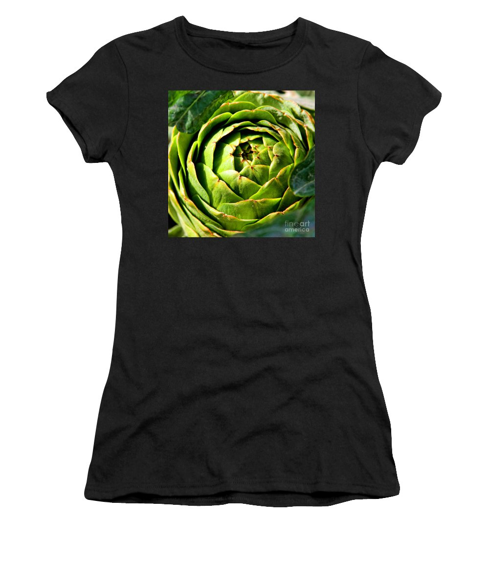 Artichoke Women's T-Shirt (Athletic Fit) featuring the photograph Art E. Choke - Artichokes By Diana Sainz by Diana Raquel Sainz