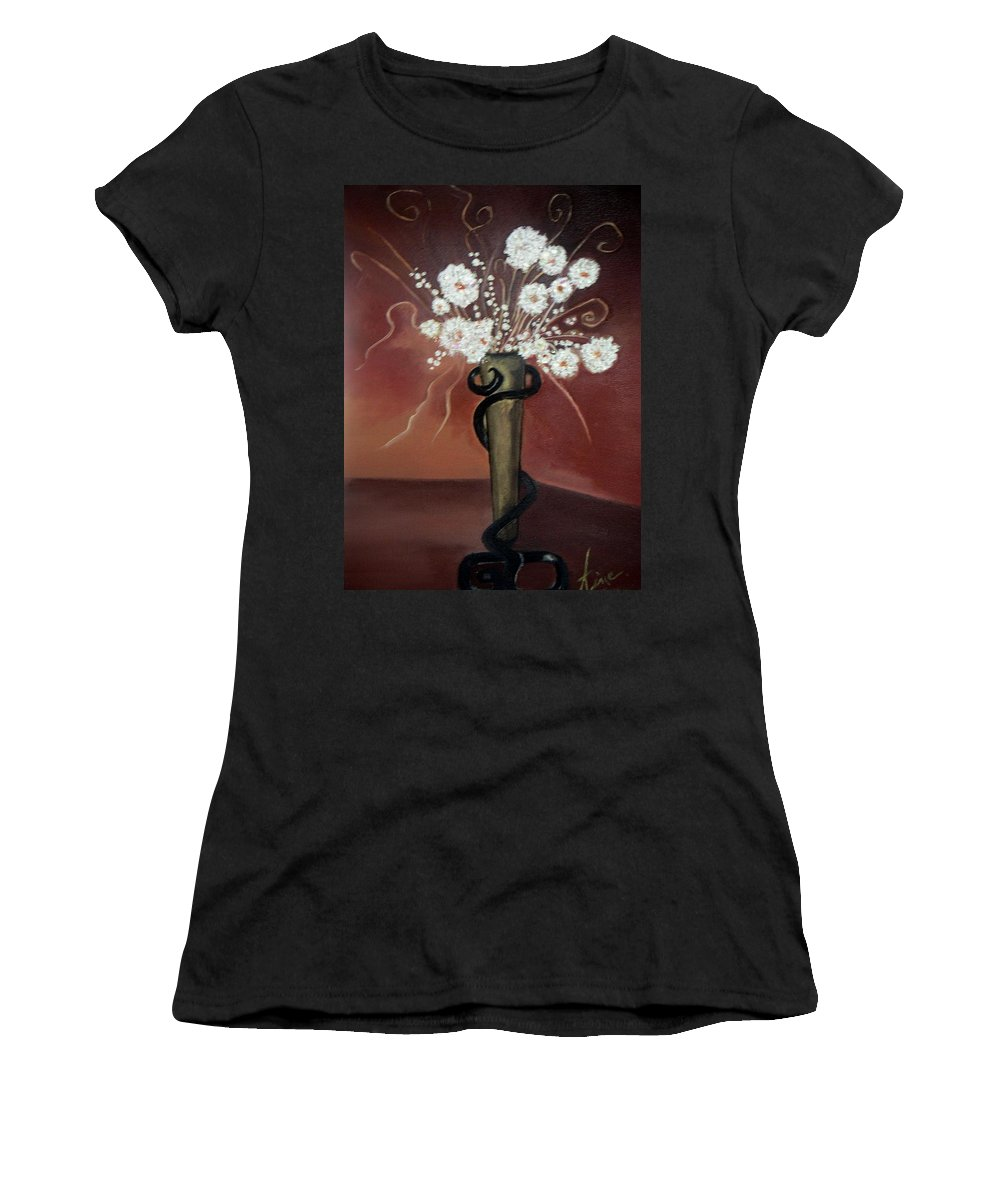 Pikotine Women's T-Shirt (Athletic Fit) featuring the painting Flowers Art by Pikotine Art