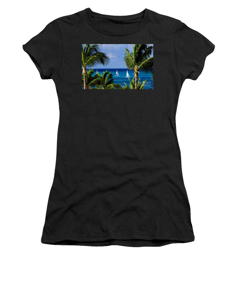 Aruba Women's T-Shirt (Athletic Fit) featuring the photograph Arubian Sails by Judy Wolinsky