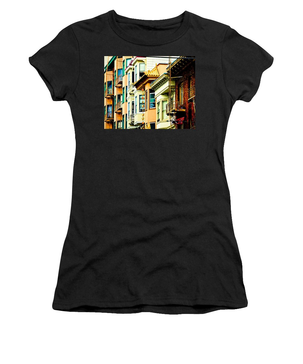 Streets Of San Francisco Women's T-Shirt (Athletic Fit) featuring the photograph Asia Town by Digital Kulprits