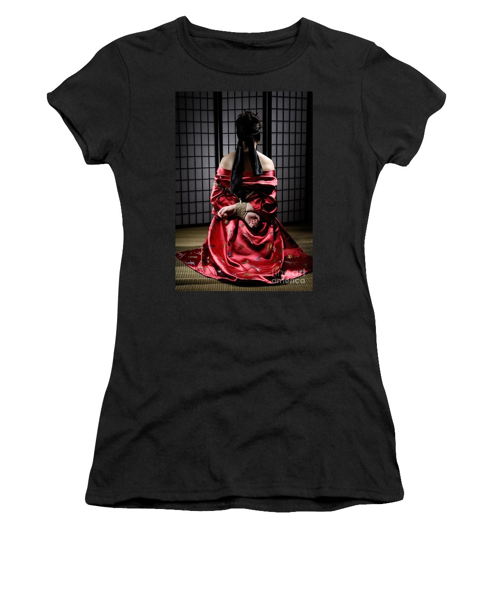 Bondage Women's T-Shirt (Athletic Fit) featuring the photograph Asian Woman With Her Hands Tied Behind Her Back by Oleksiy Maksymenko