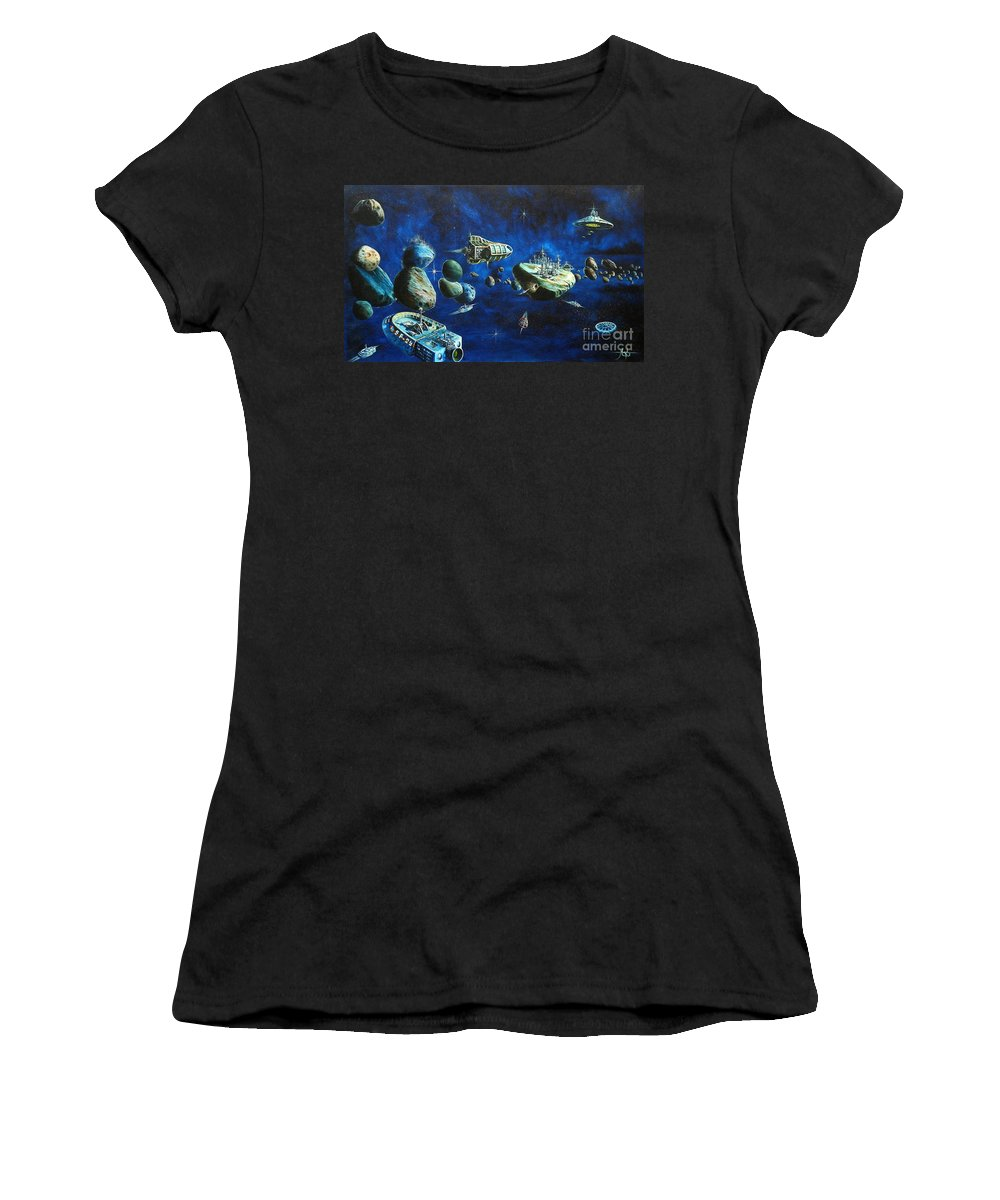 Fantasy Women's T-Shirt (Athletic Fit) featuring the painting Asteroid City by Murphy Elliott