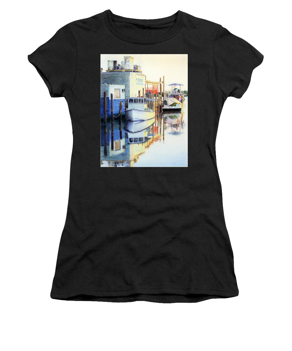 Seascape Women's T-Shirt featuring the painting At Cortez Docks by Roger Rockefeller