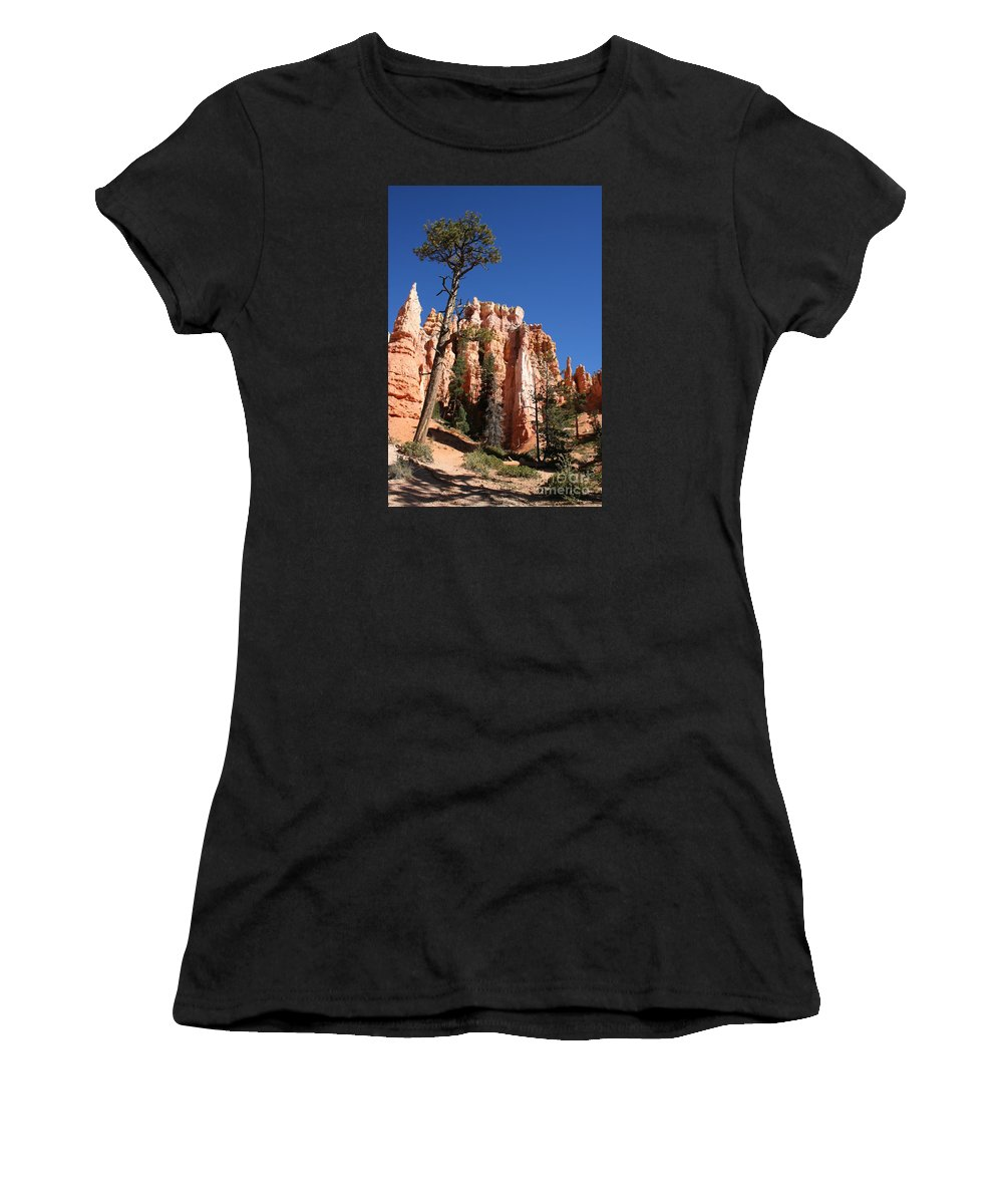 Canyon Women's T-Shirt (Athletic Fit) featuring the photograph At The Bottom Of The Bryce Np by Christiane Schulze Art And Photography