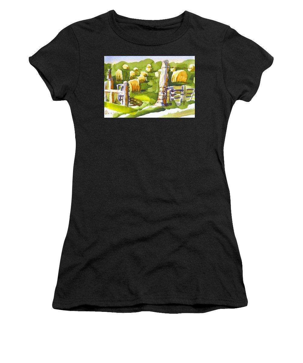 At The Farm Baling Hay Ii Women's T-Shirt featuring the painting At The Farm Baling Hay II by Kip DeVore