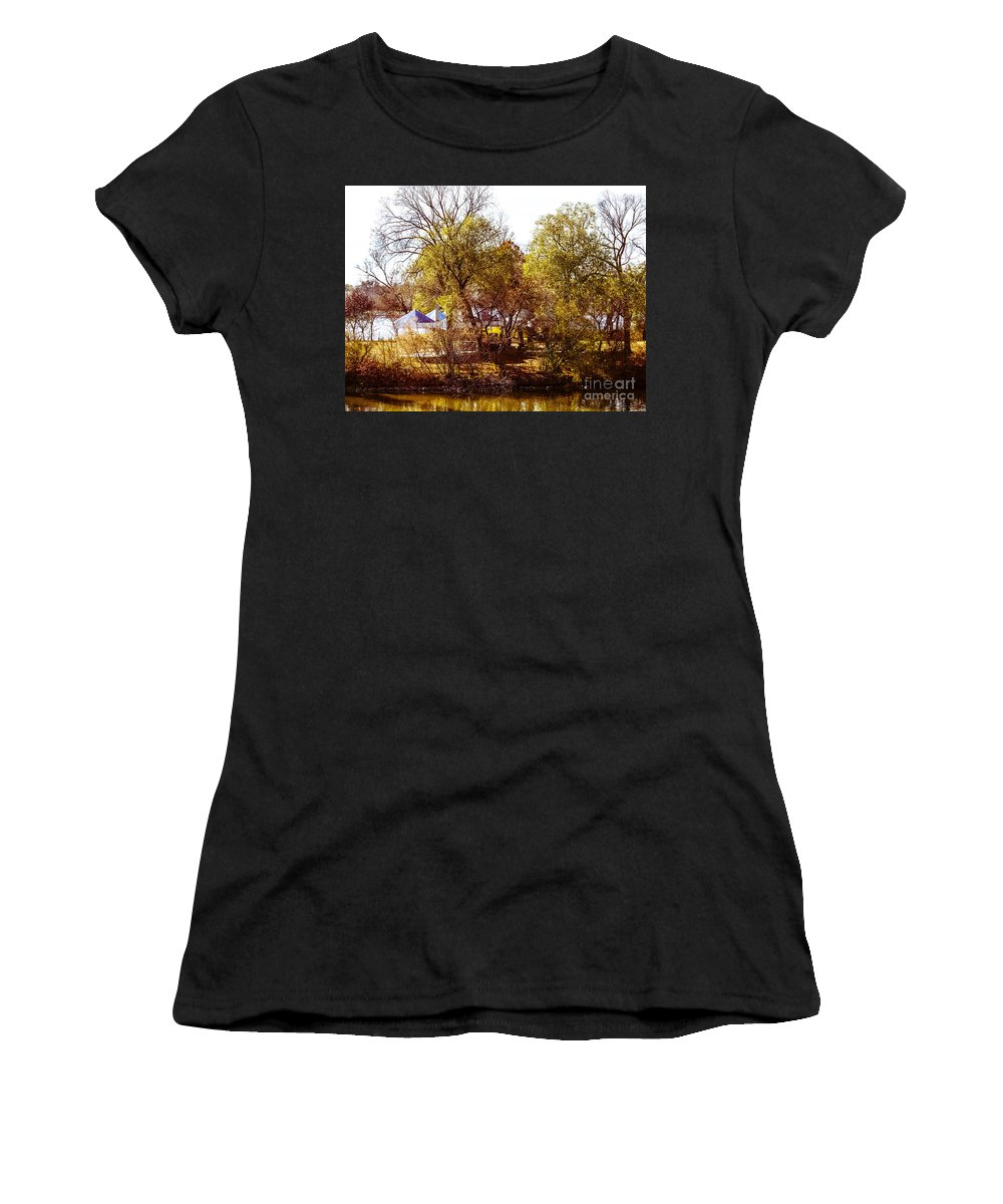 Island Women's T-Shirt featuring the photograph At The Lake-45 by David Fabian