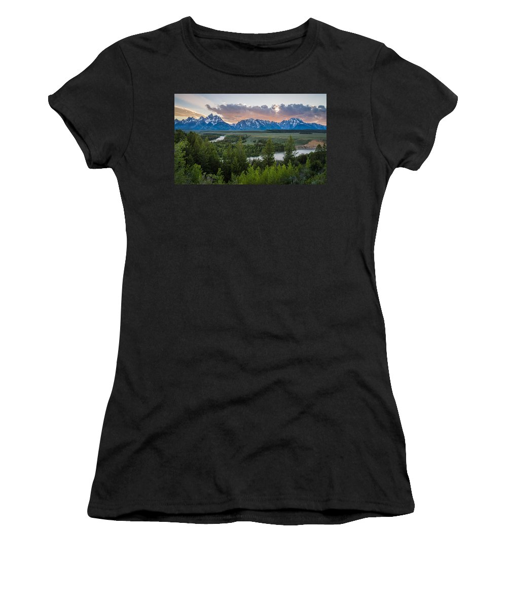 Grand Teton Women's T-Shirt featuring the photograph At The Snake by Kristopher Schoenleber