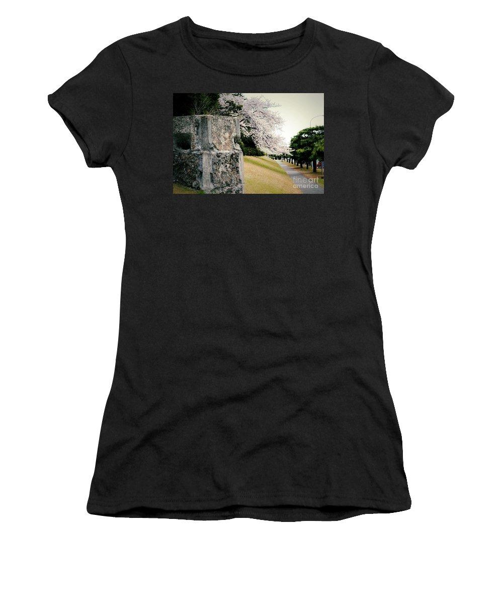 Cherry Women's T-Shirt featuring the photograph Atsugi Pillbox Walk B by Jay Mann