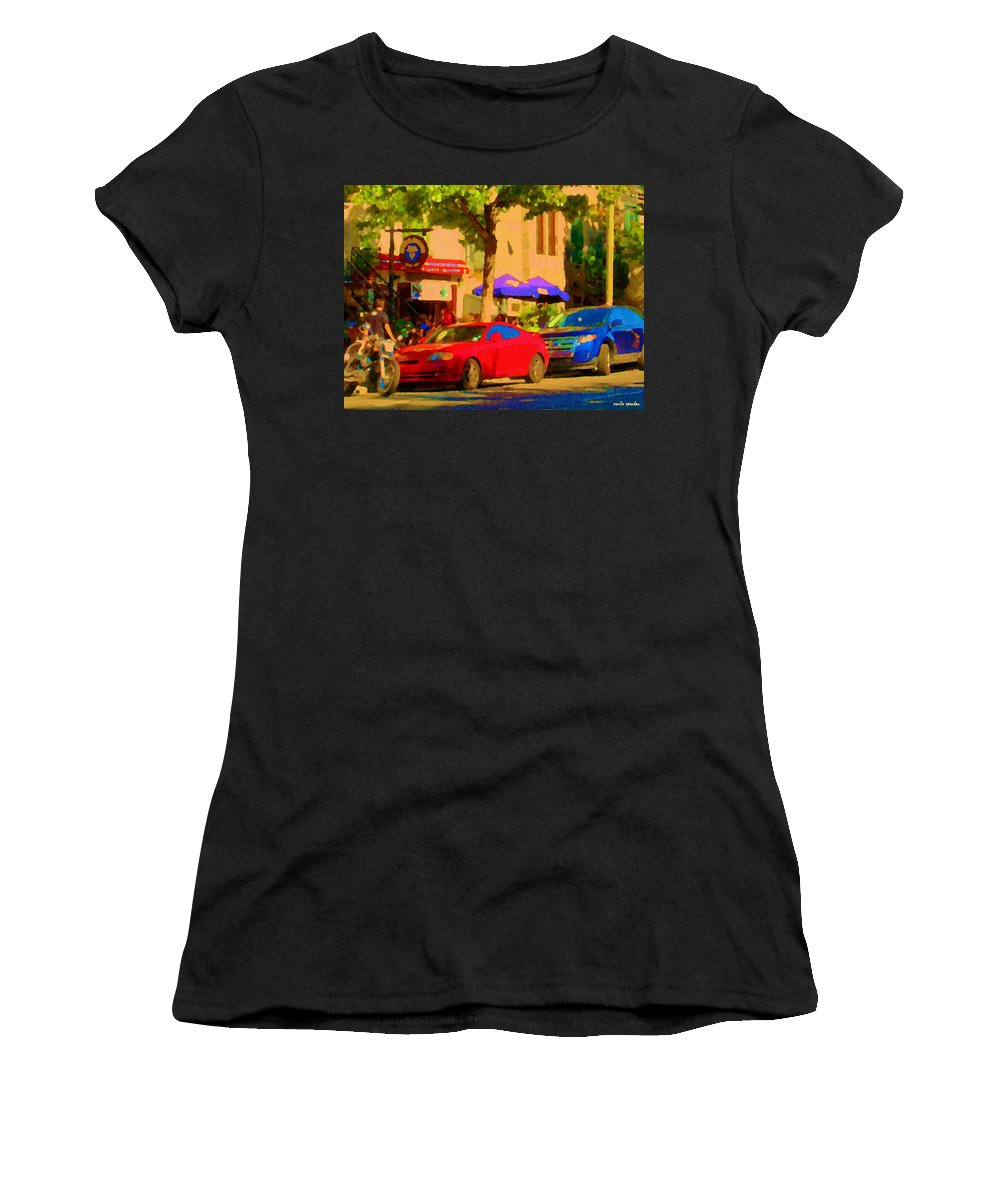 Montreal Women's T-Shirt (Athletic Fit) featuring the painting Aupres De Ma Blonde Resto Bar Terrasse Rue St Denis Montreal Cafe Street Scene Art Carole Spandau by Carole Spandau