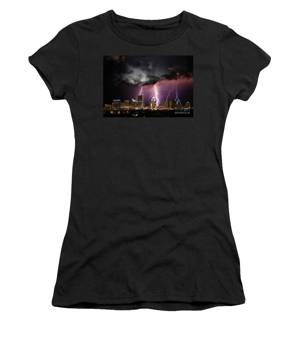 Lightning Women's T-Shirt featuring the photograph Austin Light Show by Randy Smith