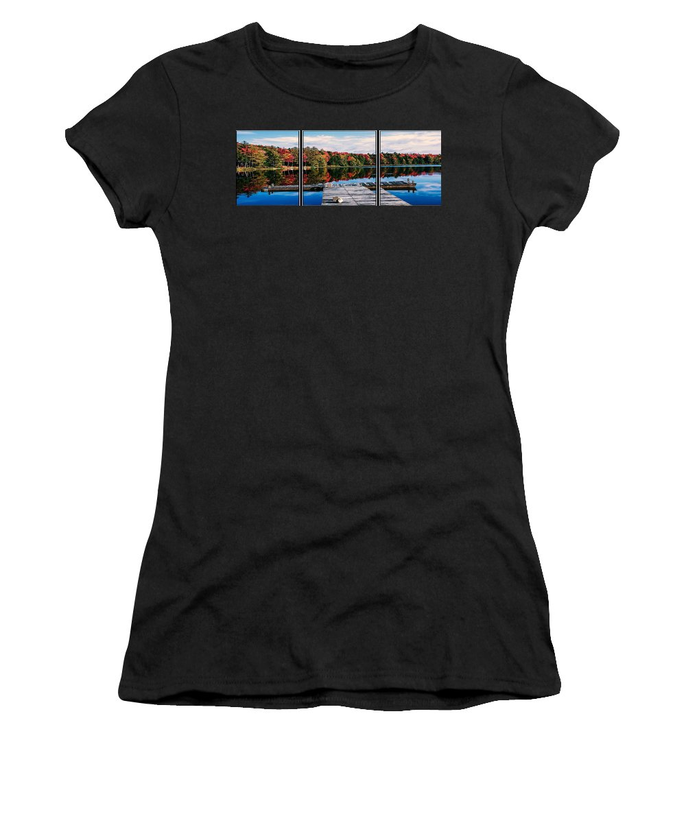 Triptych Women's T-Shirt (Athletic Fit) featuring the photograph Autumn At The Pond by Sherman Perry