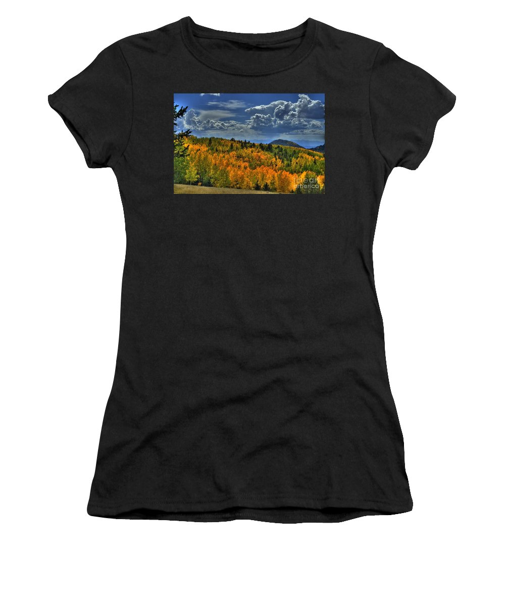 Fall Women's T-Shirt (Athletic Fit) featuring the photograph Autumn In Colorado by Tony Baca