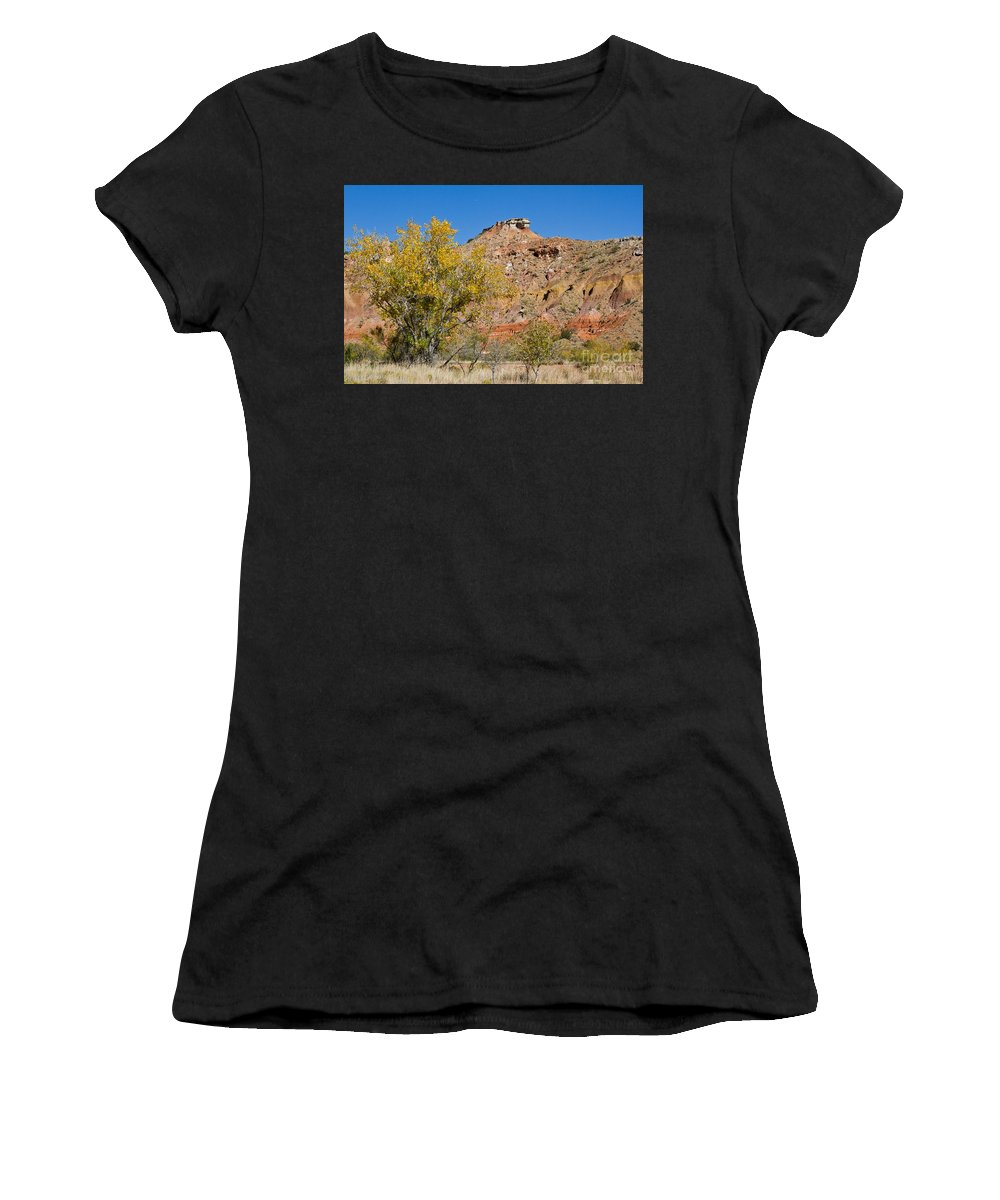 Texas Women's T-Shirt (Athletic Fit) featuring the photograph Autumn In Palo Duro Canyon 110213.119 by Ashley M Conger