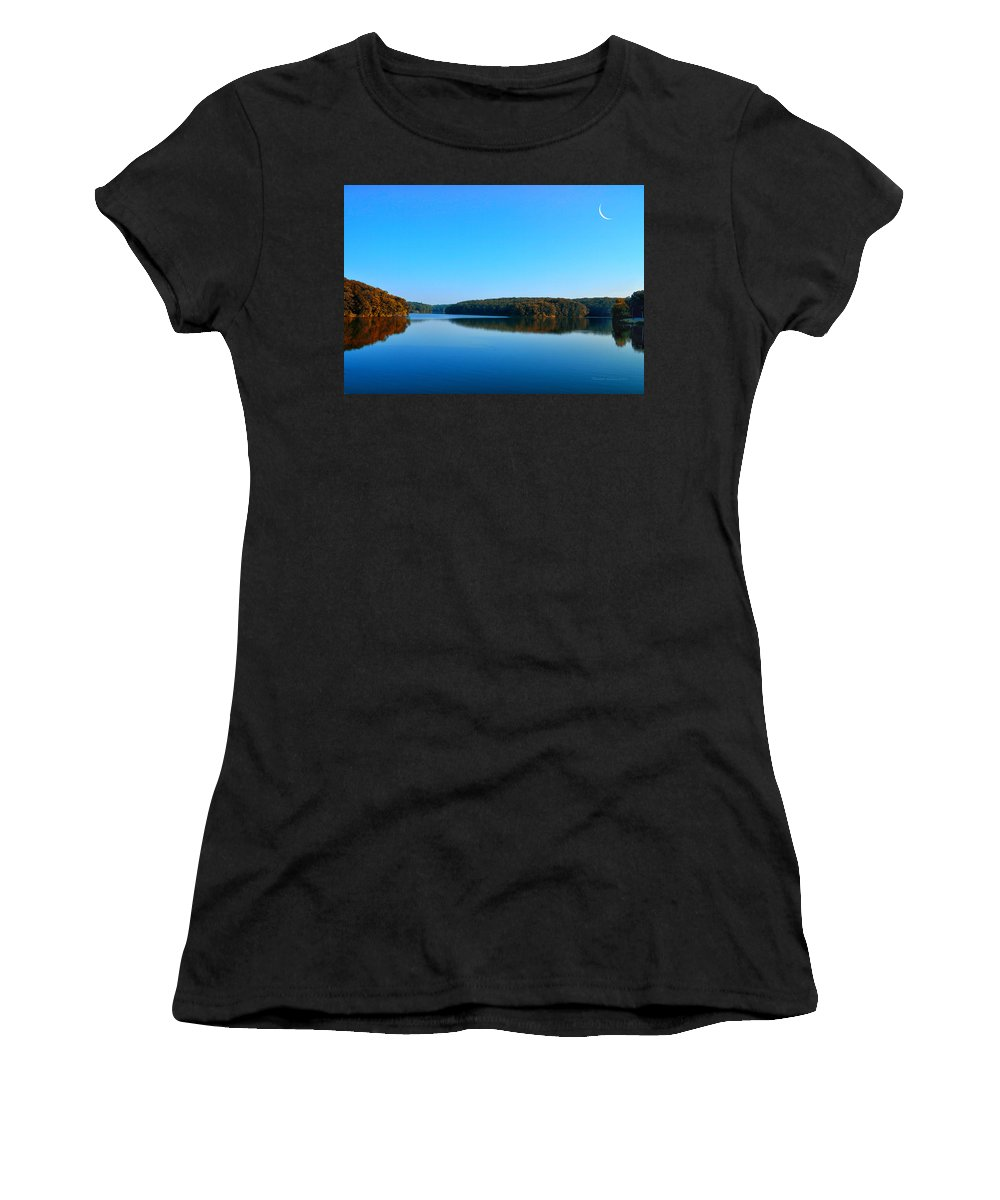 Autumn Women's T-Shirt featuring the photograph Autumn Moon At Argyle Lake by Thomas Woolworth