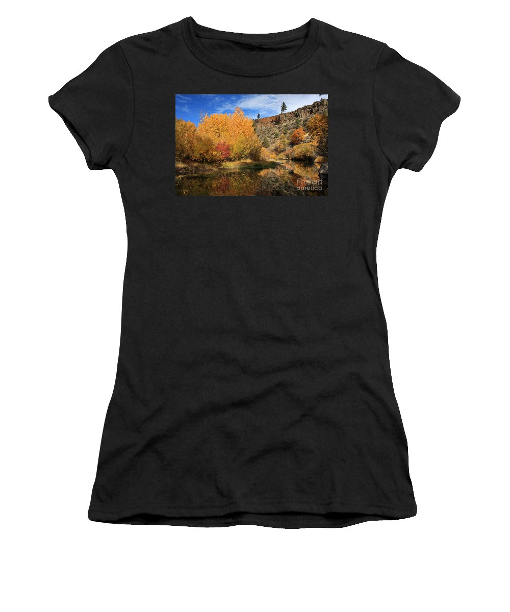 Landscape Women's T-Shirt (Athletic Fit) featuring the photograph Autumn Reflections In The Susan River Canyon by James Eddy
