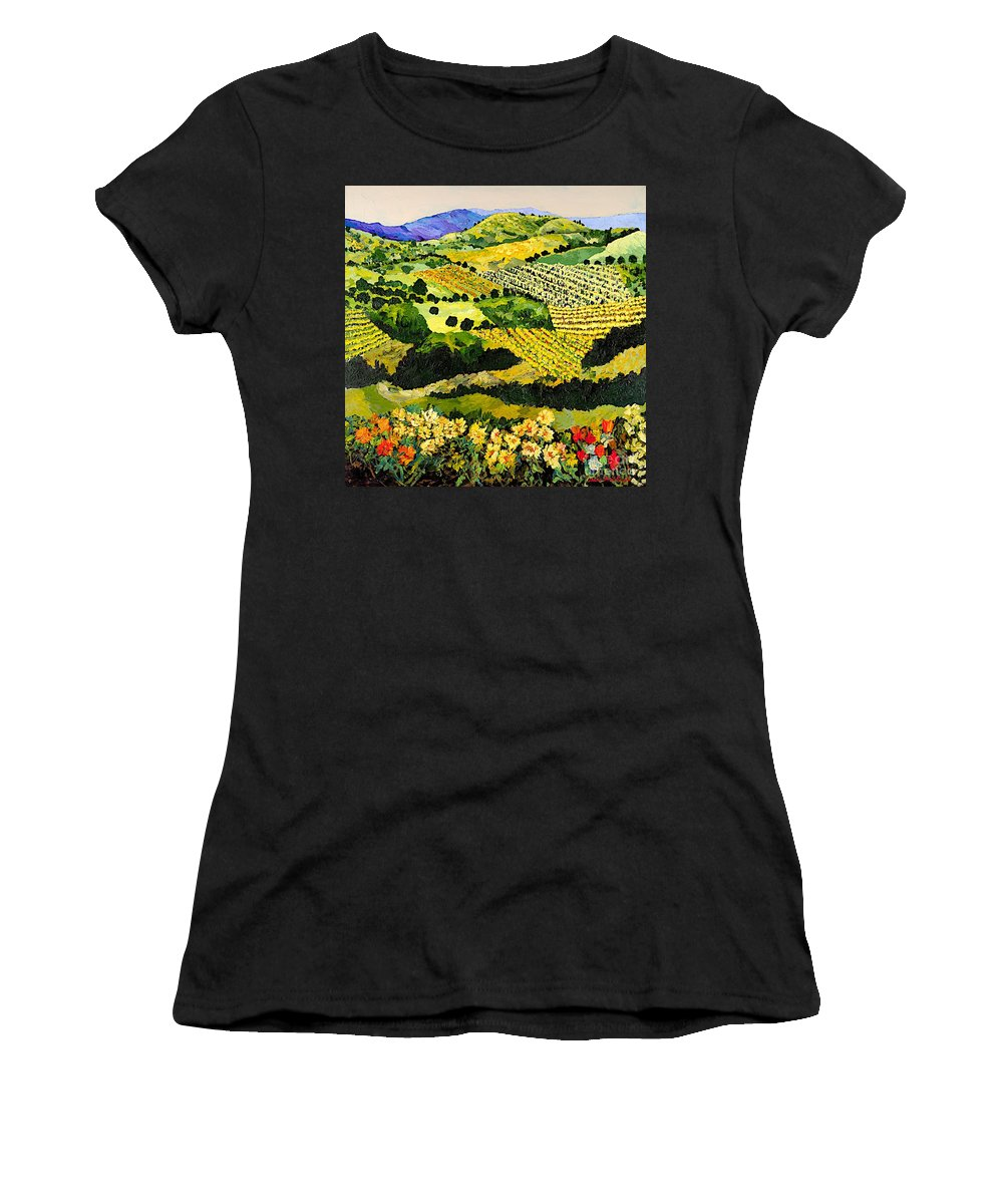 Landscape Women's T-Shirt (Athletic Fit) featuring the painting Autumn Remembered by Allan P Friedlander