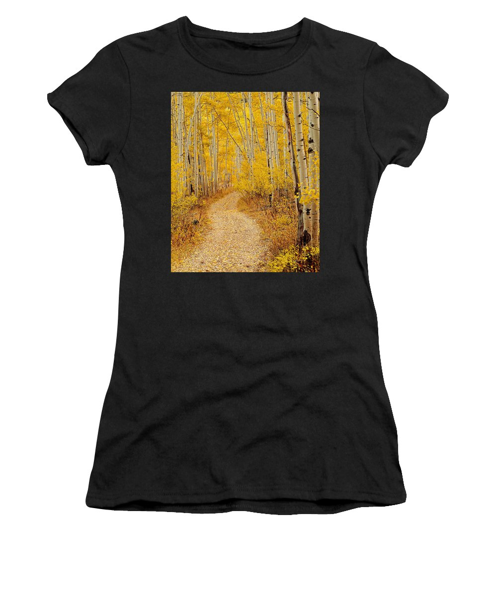 Autumn Women's T-Shirt (Athletic Fit) featuring the photograph Autumn Road by Leland D Howard