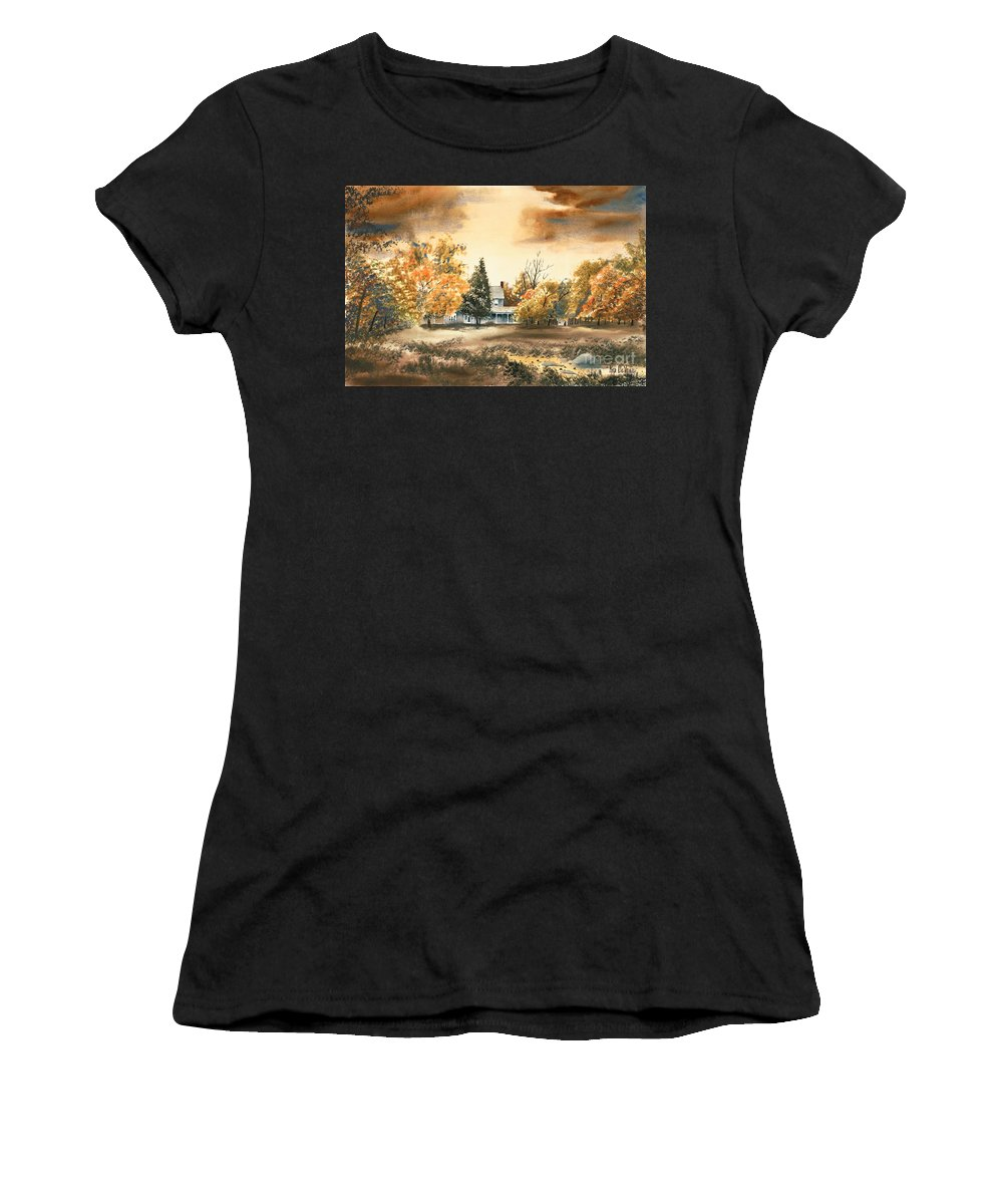 Autumn Sky No W103 Women's T-Shirt (Athletic Fit) featuring the painting Autumn Sky No W103 by Kip DeVore