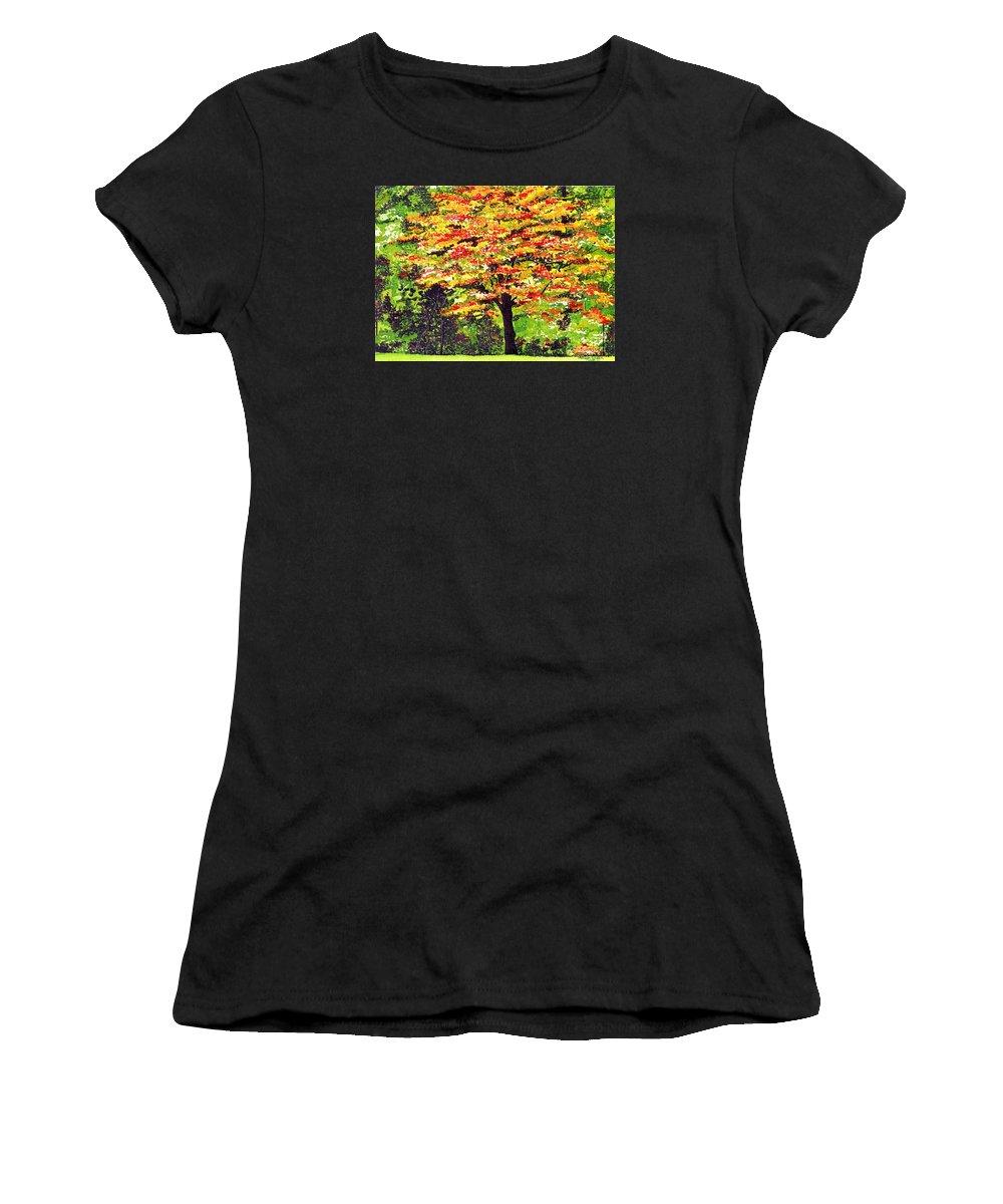 Fine Art Women's T-Shirt featuring the painting Autumn Splendor by Patricia Griffin Brett
