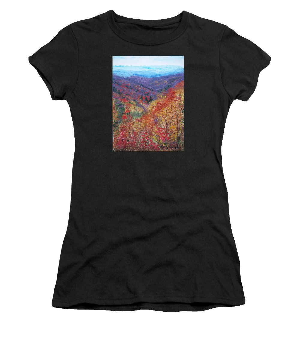 Autumn Colors Women's T-Shirt featuring the painting Autumn Valley by Betty Compton