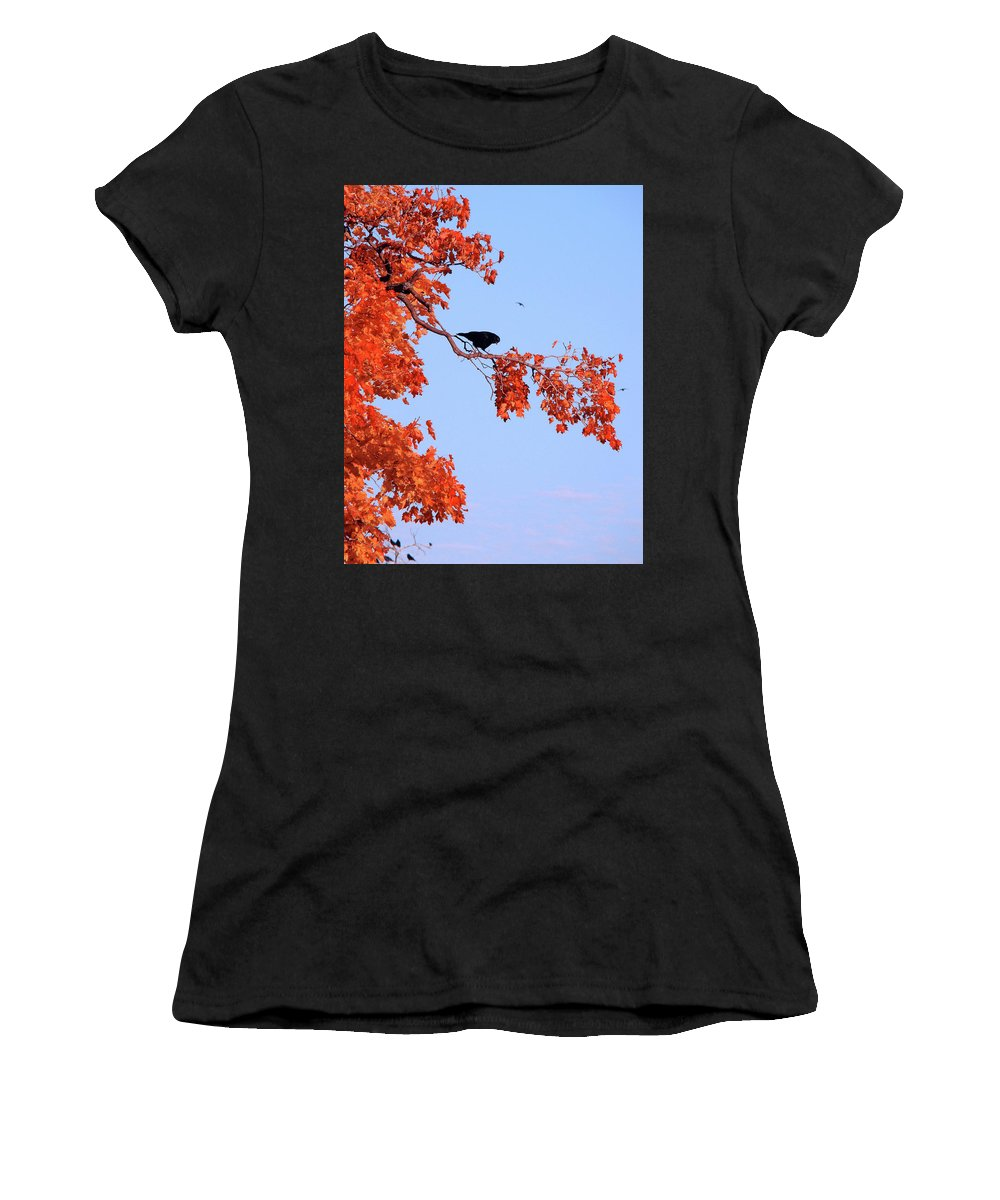 Red Leaves Women's T-Shirt (Athletic Fit) featuring the photograph Autumn View Through Red Leaves by Gothicrow Images