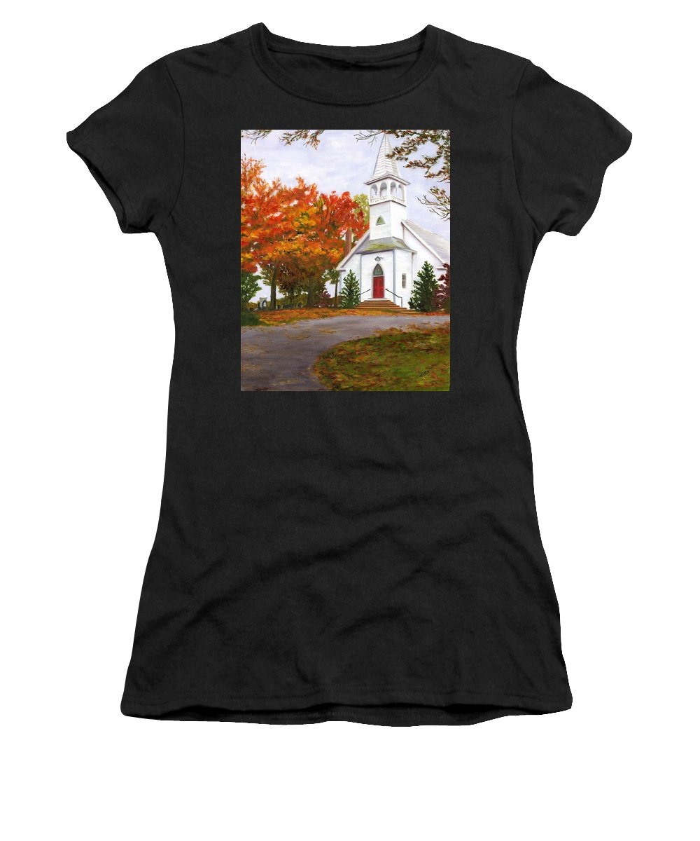 Fall Women's T-Shirt (Athletic Fit) featuring the painting Autumn Worship by Deborah Butts