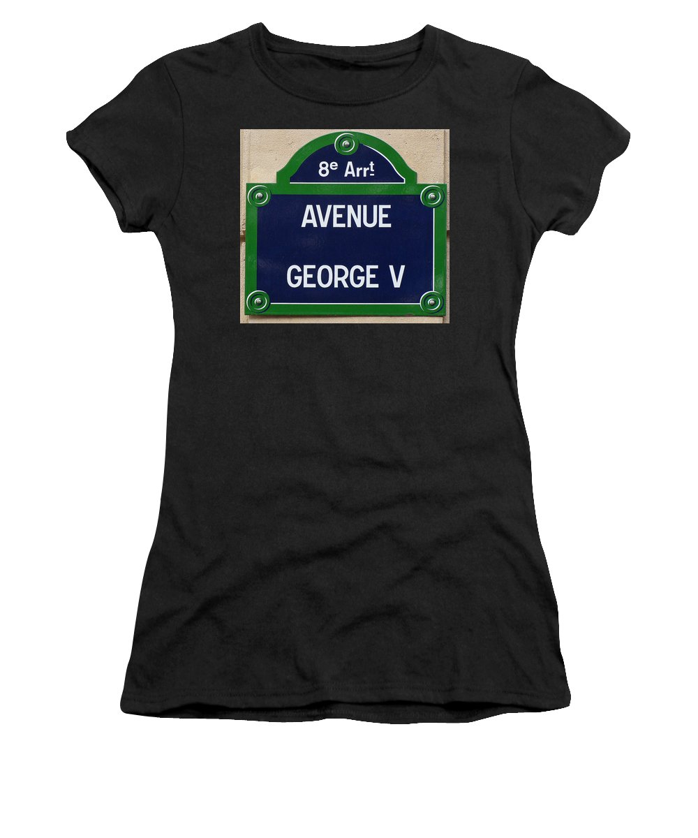 Avenue George The Fifth Women's T-Shirt (Athletic Fit) featuring the photograph Avenue George Le Cinq by Ira Shander