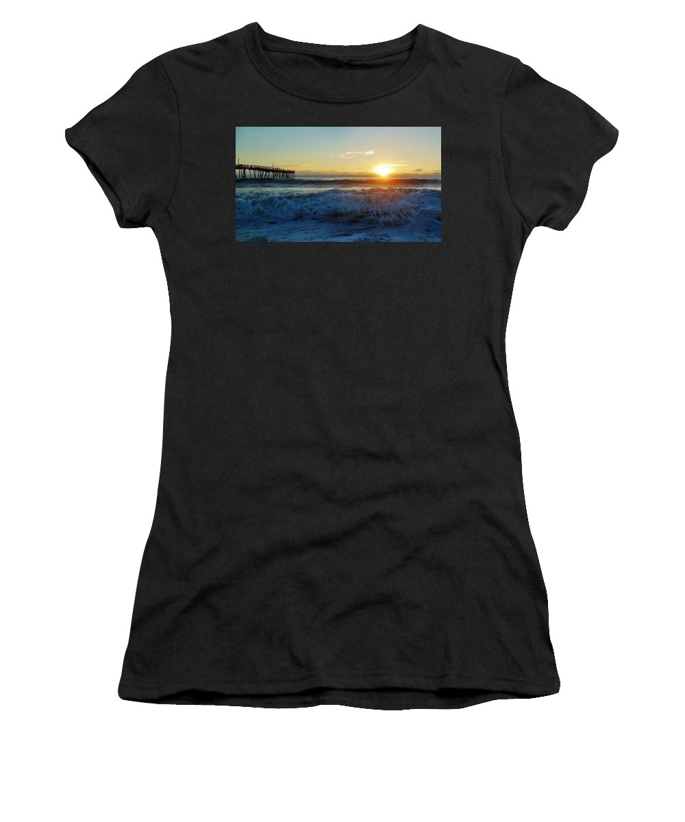 Mark Lemmon Cape Hatteras Nc The Outer Banks Photographer Subjects From Sunrise Women's T-Shirt (Athletic Fit) featuring the photograph Avon Pier Sunrise 6 10/17 by Mark Lemmon