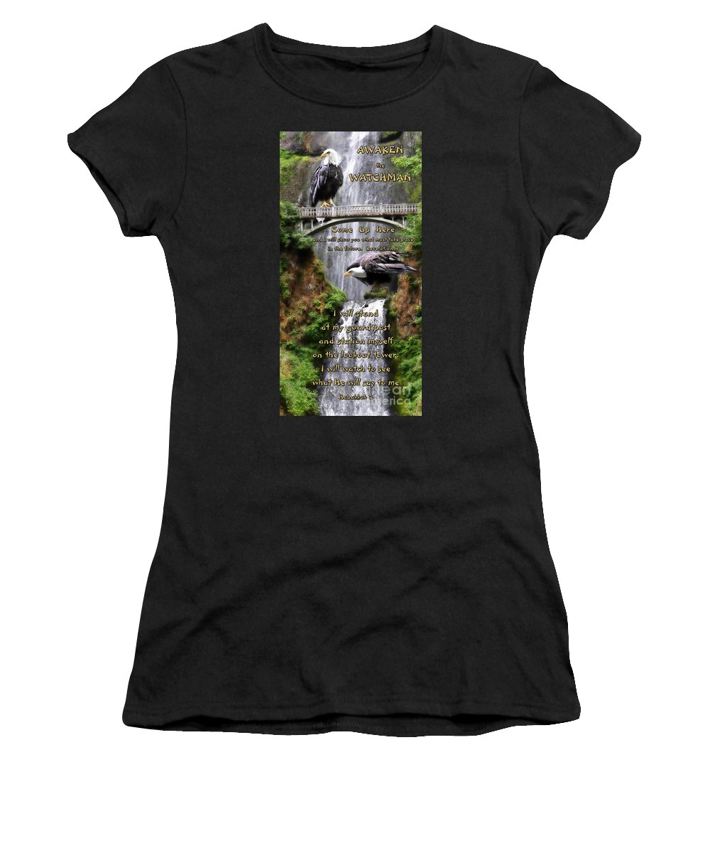 Eagle Women's T-Shirt (Athletic Fit) featuring the photograph Awaken The Watchman by Constance Woods