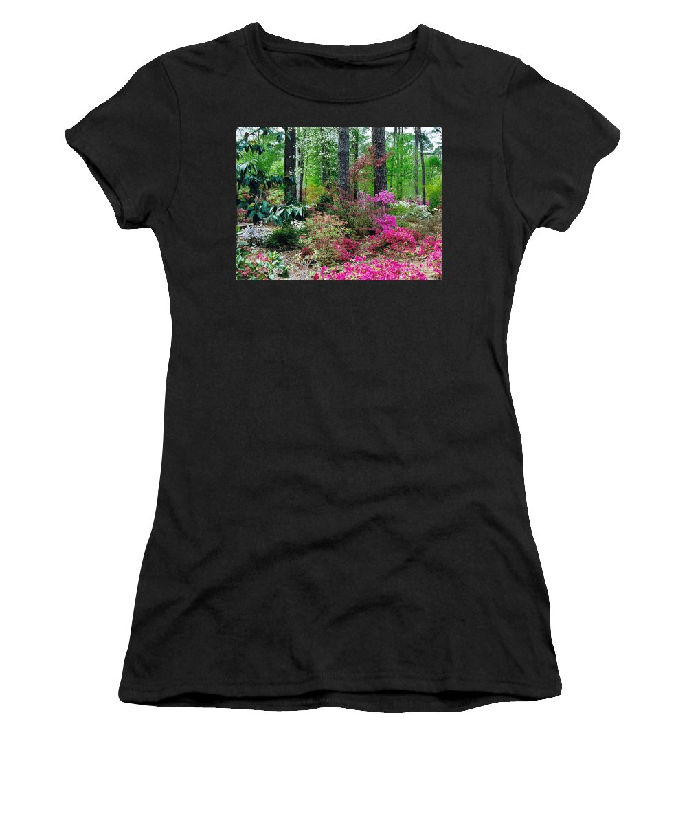 Azaleas Women's T-Shirt (Athletic Fit) featuring the photograph Azaleas Red Maple And Magnolia Trees by Ruth Housley