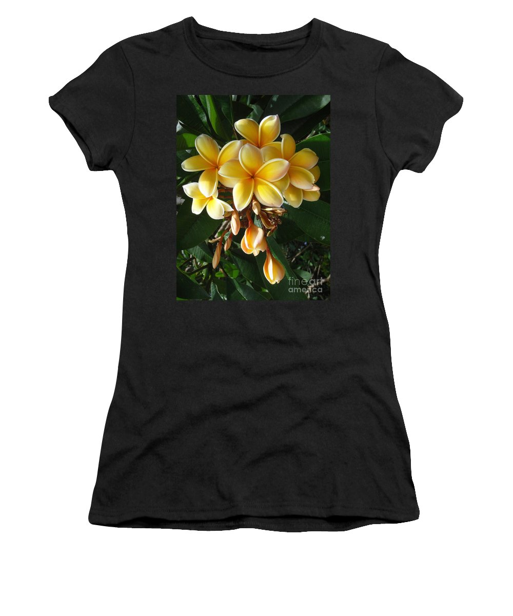 Aztec Gold Women's T-Shirt (Athletic Fit) featuring the photograph Aztec Gold Plumeria by Mary Deal