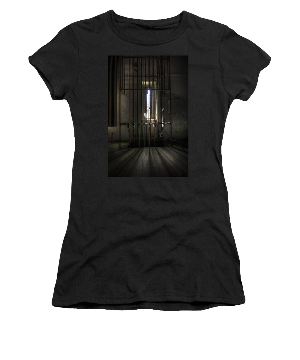 Abandoned Women's T-Shirt (Athletic Fit) featuring the digital art Backstage Control. by Nathan Wright