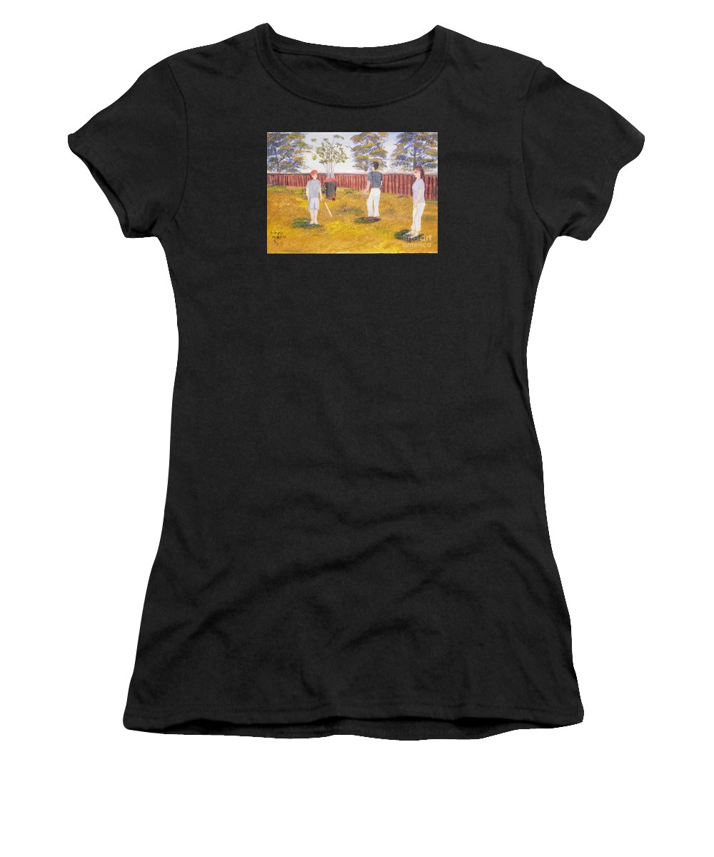 Impressionismoils Women's T-Shirt (Athletic Fit) featuring the painting Backyard Cricket Under The Hot Australian Sun by Pamela Meredith