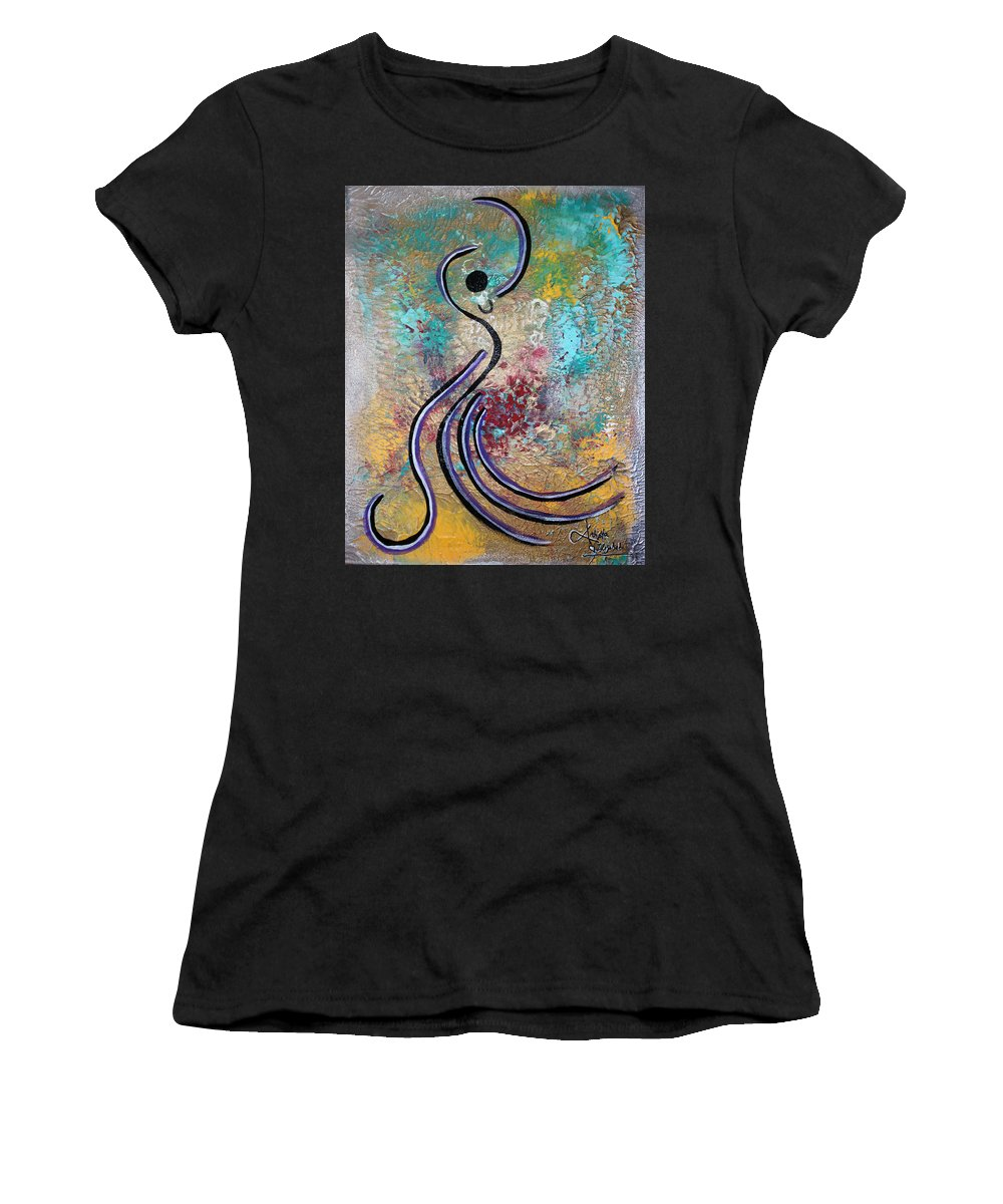 Dancing Women's T-Shirt featuring the mixed media Bailando 1 by Artista Elisabet