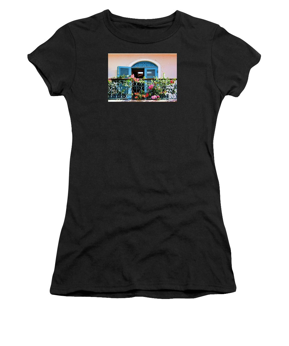 Flowers Women's T-Shirt (Athletic Fit) featuring the photograph Balcony Blue By Diana Sainz by Diana Raquel Sainz