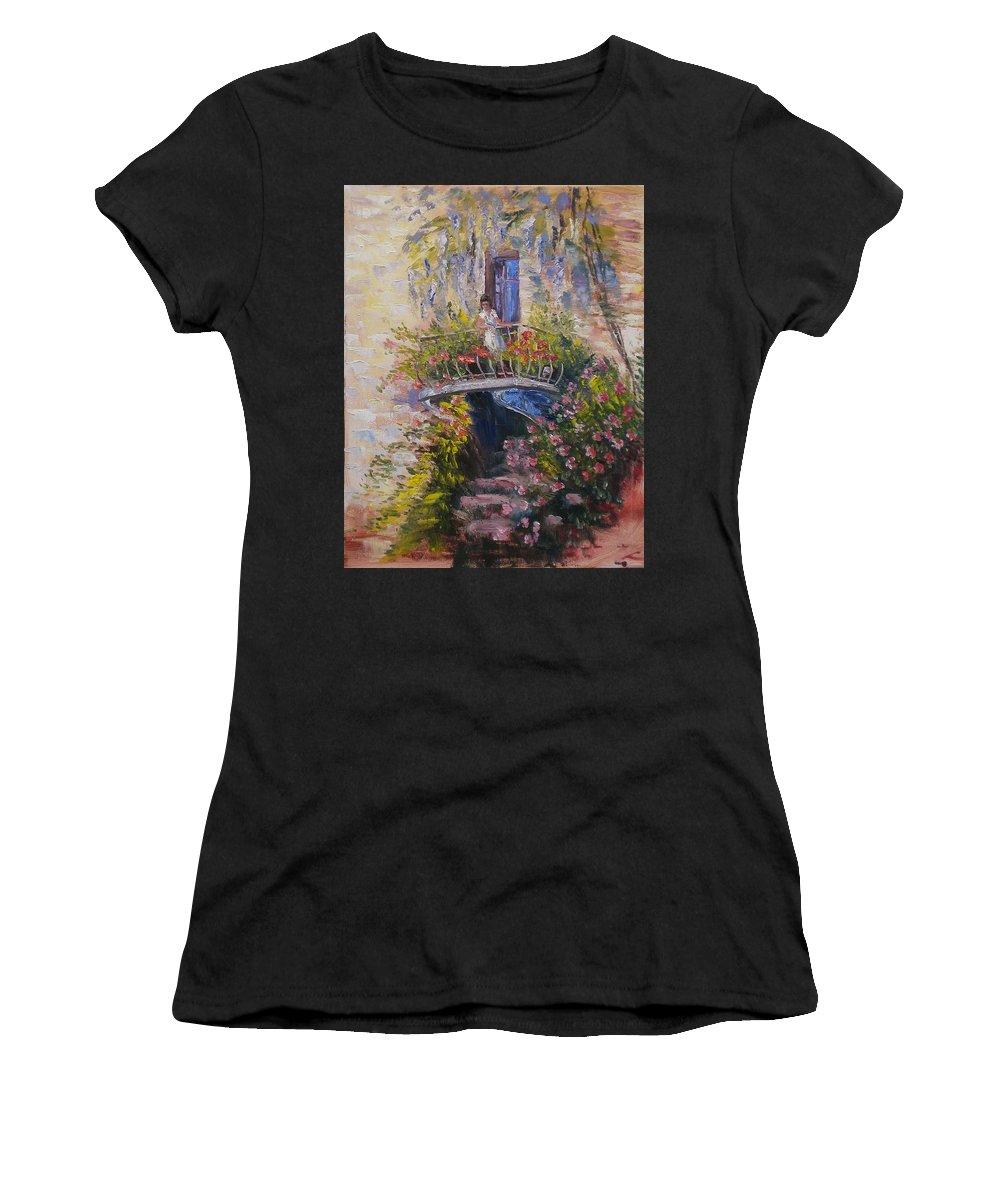 Balcony Women's T-Shirt (Athletic Fit) featuring the painting Balcony by Elena Sokolova