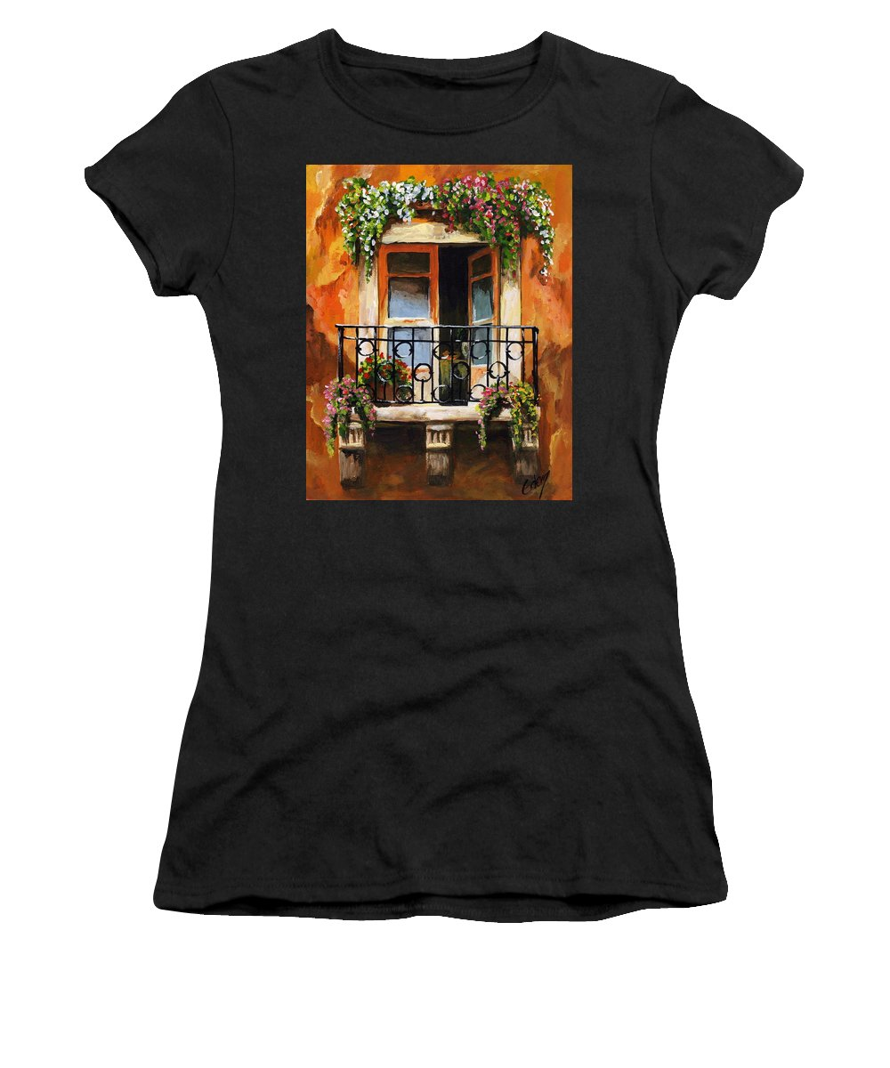 Balcony Women's T-Shirt (Athletic Fit) featuring the painting Balcony Of Livorno by Voros Edit