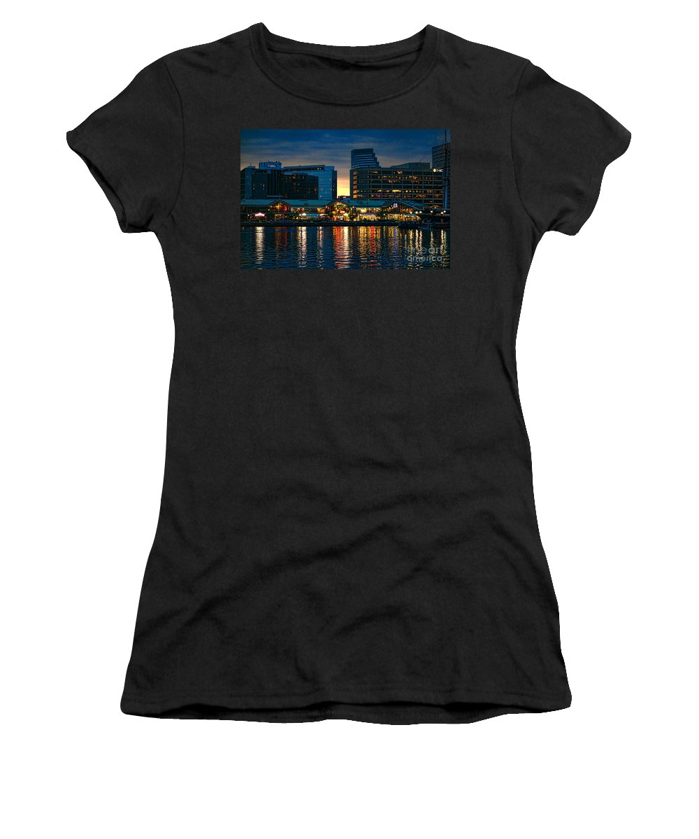 Inner Women's T-Shirt featuring the photograph Baltimore Harborplace Light Street Pavilion by Olivier Le Queinec